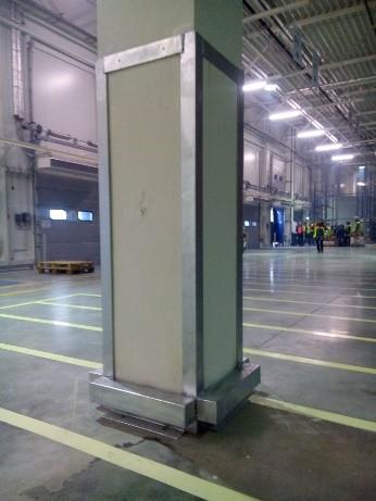 Монтаж защиты колонн